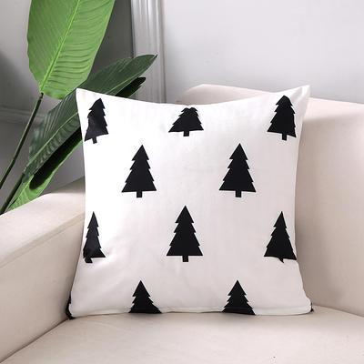2018新款拼色黑白双面绒布印花抱枕 45x45cm单套子 圣诞树
