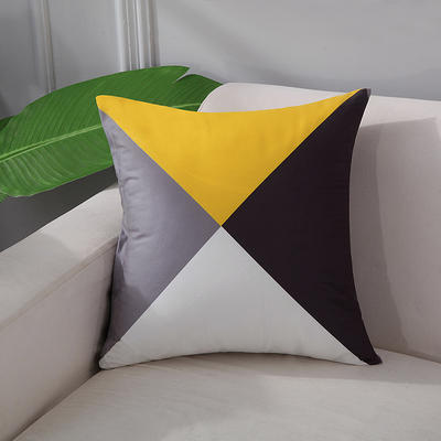 2018新款拼色双面绒布印花抱枕 45x45cm单套子 拼色三角