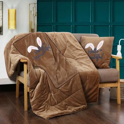 2018新款水晶绒毛巾绣花抱枕被子两用 多功能汽车靠垫被 45*45 打开120*160cm 兔耳朵 驼色