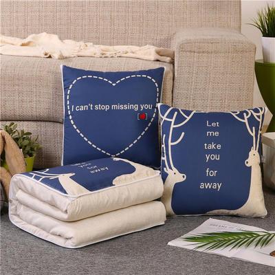 2019新款双面印花抱枕被 办公室靠垫被两用 40*40展开107*150 麋鹿和字母