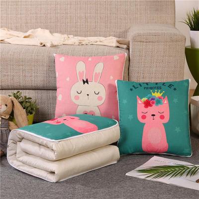 2019新款双面印花抱枕被 办公室靠垫被两用 40*40展开107*150 兔子和猫咪