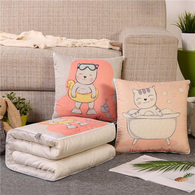 2019新款双面印花抱枕被 办公室靠垫被两用 40*40展开107*150 洗澡猫