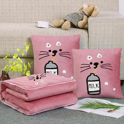 2019新款毛巾绣花抱枕被 靠垫40*40cm  打开107*150 牛奶猫-粉色