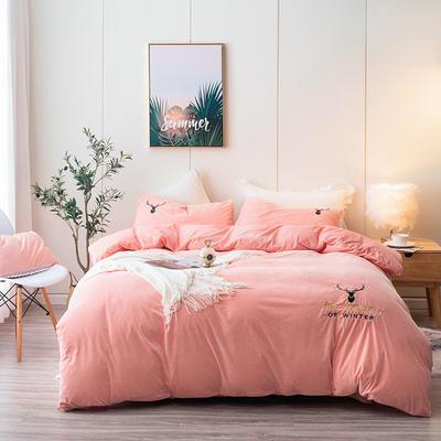 2019新款宝宝绒提花加绣花四件套 1.8m床单款四件套 粉色
