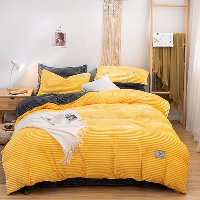 2019新款双面魔法绒,高克重四件套 1.5m床单款四件套 黄色