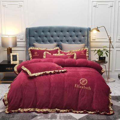 2019新款水晶绒荷叶边款式四件套 1.5m床单款四件套 红色
