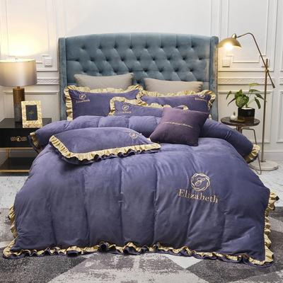 2019新款水晶绒荷叶边款式四件套 1.5m床单款四件套 紫色