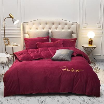 2019新款水晶绒金色麻绳款式四件套 1.8m床单款四件套 红色