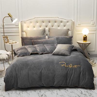 2019新款水晶绒金色麻绳款式四件套 1.8m床单款四件套 深灰