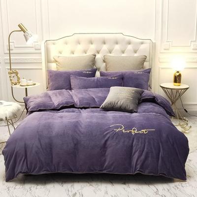 2019新款水晶绒金色麻绳款式四件套 1.8m床单款四件套 紫色
