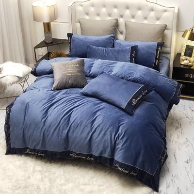 2019新款水晶绒绣花边款式四件套 1.5m床单款四件套 蓝色