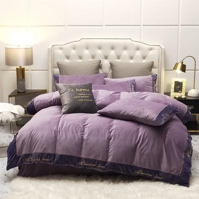 2019新款水晶绒绣花边款式四件套 1.5m床单款四件套 紫色