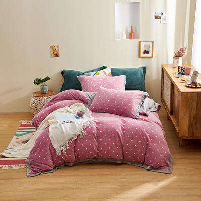 2020新款-保暖牛奶绒带宽边四件套 1.8m床单款四件套 心愿-紫