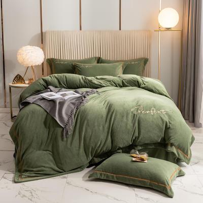 2020新款-保暖牛奶绒织带四件套凯利系列 1.8m床单款四件套 艾叶绿
