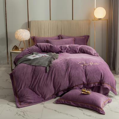 2020新款-保暖牛奶绒织带四件套凯利系列 1.8m床单款四件套 丁香紫