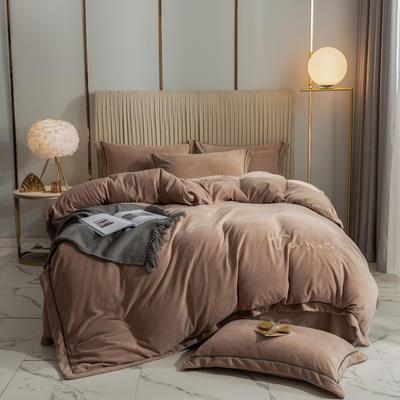 2020新款-保暖牛奶绒织带四件套凯利系列 1.8m床单款四件套 高级咖