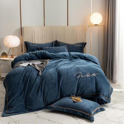 2020新款-保暖牛奶绒织带四件套凯利系列 1.8m床单款四件套 轻奢蓝