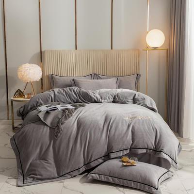 2020新款-保暖牛奶绒织带四件套凯利系列 1.5m床单款四件套 星辰灰