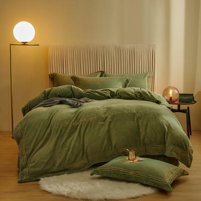 2020新款-保暖牛奶绒绣边四件套罗伊系列 1.8m床单款四件套 艾叶绿