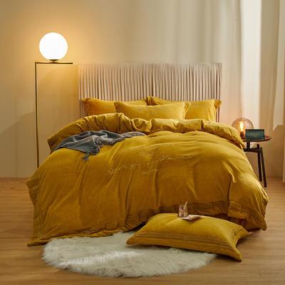 2020新款-保暖牛奶绒绣边四件套罗伊系列 1.5m床单款四件套 柠檬黄