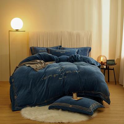 2020新款-保暖牛奶绒绣边四件套罗伊系列 1.8m床单款四件套 轻奢蓝