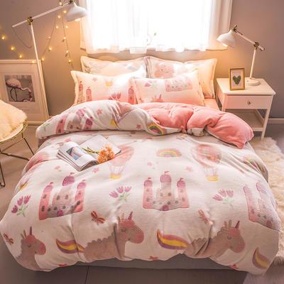 2018新款雪花绒四件套 1.2m床(床单三件套) 童话世界