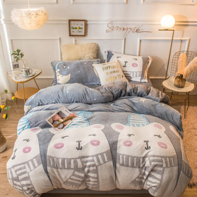 2019新款雪花绒四件套 1.8m床(床单四件套) 晚安熊