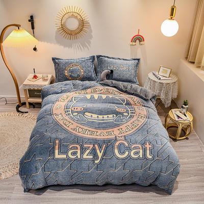 2020新款大版雪花绒系列四件套 1.5m床单款四件套 小懒猫