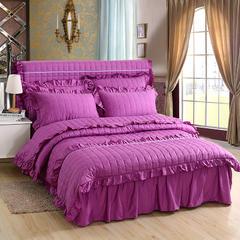 今生缘家纺 全包夹棉五件套床裙款 全包床头罩1.2m床 紫色
