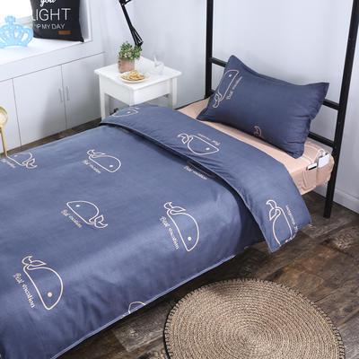 单人宿舍床品套件 学生床品三件套单人员工床品三件套 1m床 小鲸鱼A