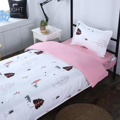 单人宿舍床品套件 学生床品三件套单人员工床品三件套 1m床 熊出没