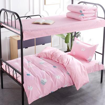 新款全棉13372宿舍套件 学生床品三件套 单人员工宿舍床品三件套 1.2床三件套 柏丽萌猫-粉