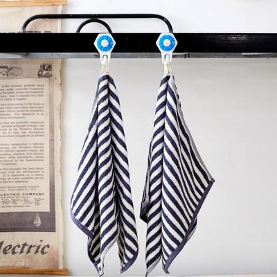 纯棉毛巾 吸水毛巾  舒适面巾 可挂毛巾 学生单人纯棉毛巾 蓝色条纹35*74cm