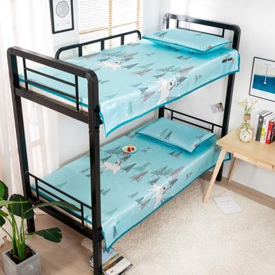 2020新款专利学生宿舍寝室冰丝凉席 单人上下铺寝室凉席枕席二件套 1.2米款145*200 2件套 北极之恋
