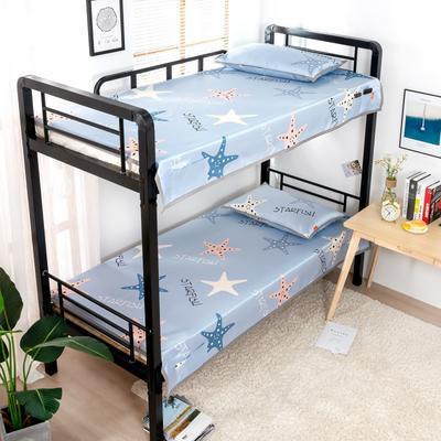 2020新款专利学生宿舍寝室冰丝凉席 单人上下铺寝室凉席枕席二件套 1.2米款145*200 2件套 星海