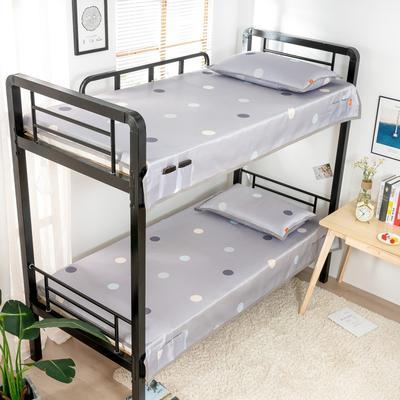 2020新款专利学生宿舍寝室冰丝凉席 单人上下铺寝室凉席枕席二件套 1.2米款145*200 2件套 圆满-灰