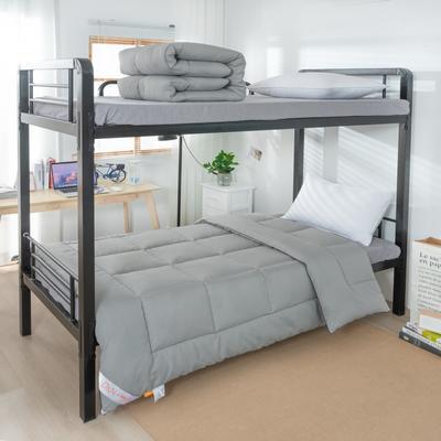 2020新款四季羽丝绒化纤被 单人学生宿舍被芯 寝室纤维被子 150x210cm 银灰
