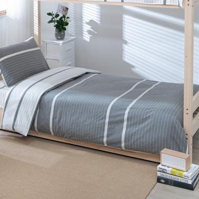 2020新品全棉水洗色织单人宿舍被套 学生寝室单被套 150X210cm 初恋-灰