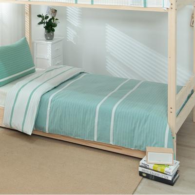 2020新品全棉水洗色织单人宿舍被套 学生寝室单被套 150X210cm 初恋-绿