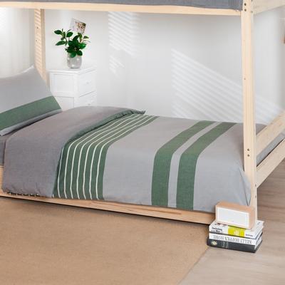 2020新品全棉水洗色织单人宿舍被套 学生寝室单被套 150X210cm 梦想绿条纹