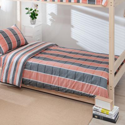 2020新品全棉水洗色织单人宿舍被套 学生寝室单被套 150X210cm 你好色彩-桔灰格