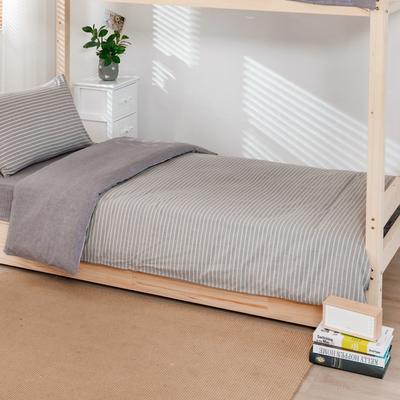 2020新品全棉水洗色织单人宿舍被套 学生寝室单被套 150X210cm 文艺灰小条