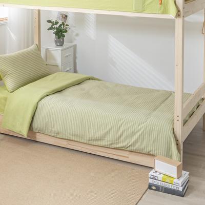 2020新品全棉水洗色织单人宿舍被套 学生寝室单被套 150X210cm 文艺绿小条