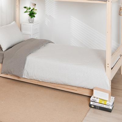 2020新品全棉水洗色织单人宿舍被套 学生寝室单被套 150X210cm 文艺米小格
