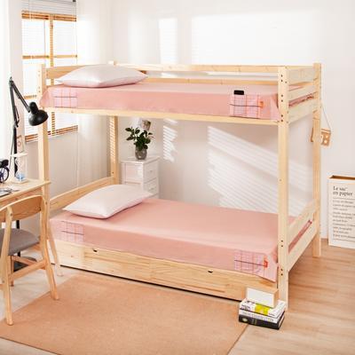2020新品全棉水洗色织单人宿舍床单 学生寝室上下铺单床单 床单125*200cm通用款 巴黎-粉小格