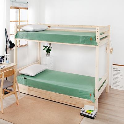 2020新品全棉水洗色织单人宿舍床单 学生寝室上下铺单床单 床单125*200cm通用款 巴黎-绿小格
