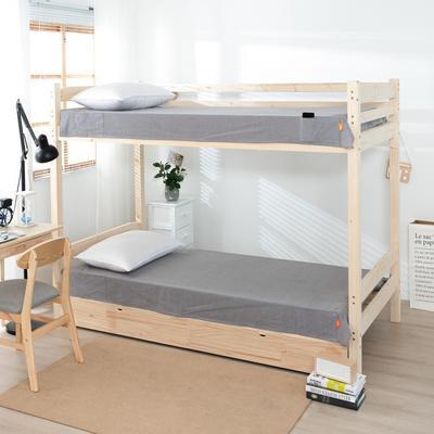 2020新品全棉水洗色织单人宿舍床单 学生寝室上下铺单床单 床单125*200cm通用款 文艺灰小条