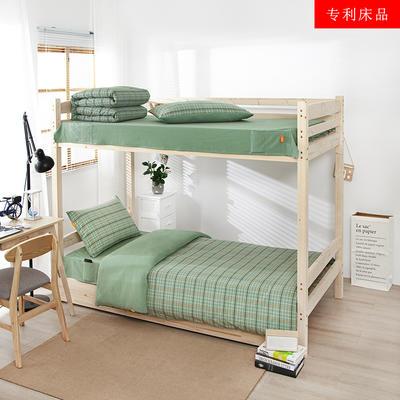 2020新品全棉水洗色织单人宿舍上下铺三件套 学生寝室套件 通用款1.0m床 巴黎-绿小格