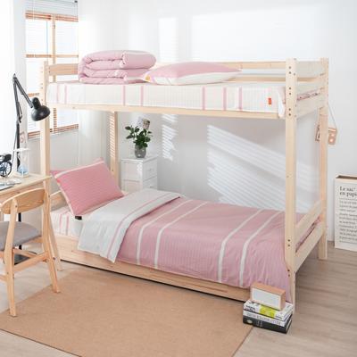2020新品全棉水洗色织单人宿舍上下铺三件套 学生寝室套件 通用款0.9m床 初恋-粉
