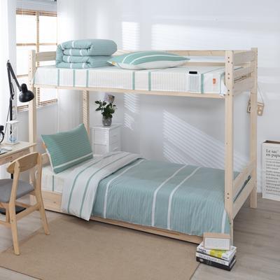 2020新品全棉水洗色织单人宿舍上下铺三件套 学生寝室套件 通用款0.9m床 初恋-绿